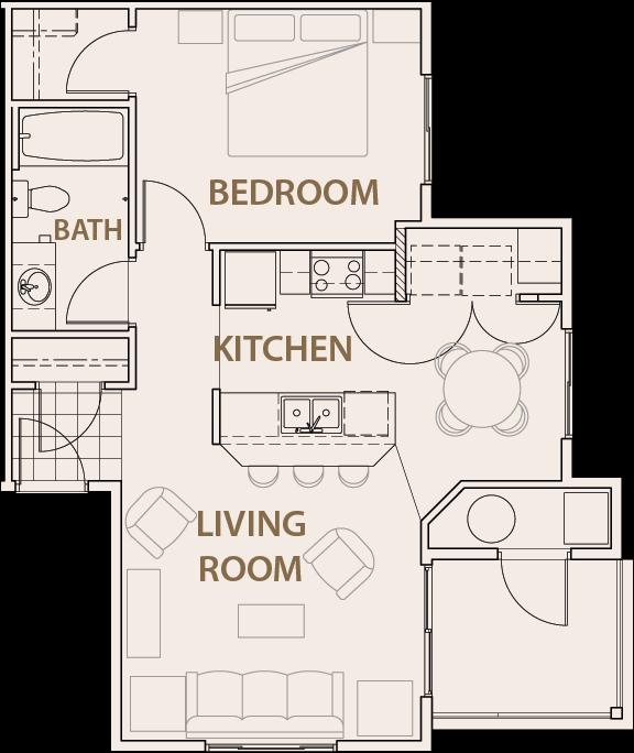 One Bedroom Apartments In Colorado Springs: Floor Plans Of COPPER RANGE In Colorado Springs, CO