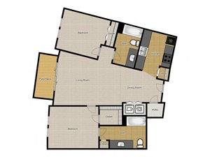 Walnut Commons - 1 Bedroom B2 floor plan