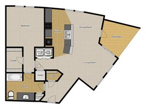 Walnut Commons - 1 Bedroom A3 floor plan
