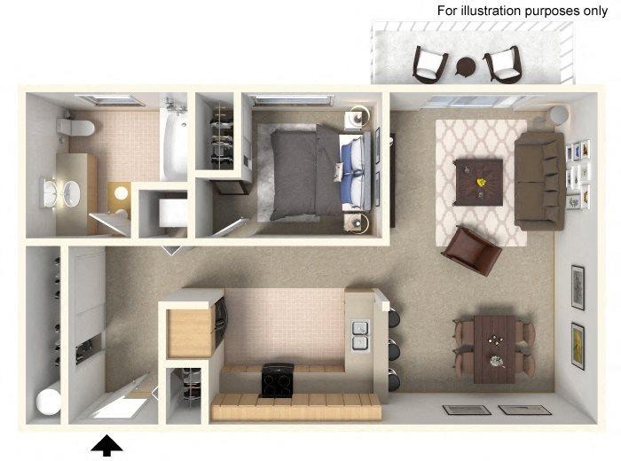 0 Bed, 1 Bath Floor Plan 1