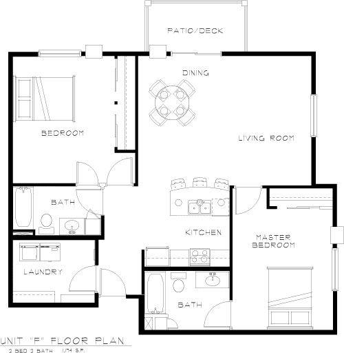 Apartment Floorplan in Bluffs of Williston Apartments ND