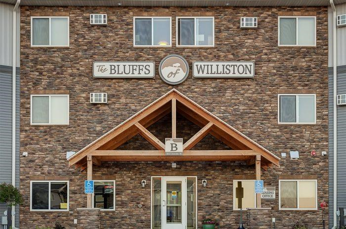 Entrance to the Bluffs of Williston Apartments ND