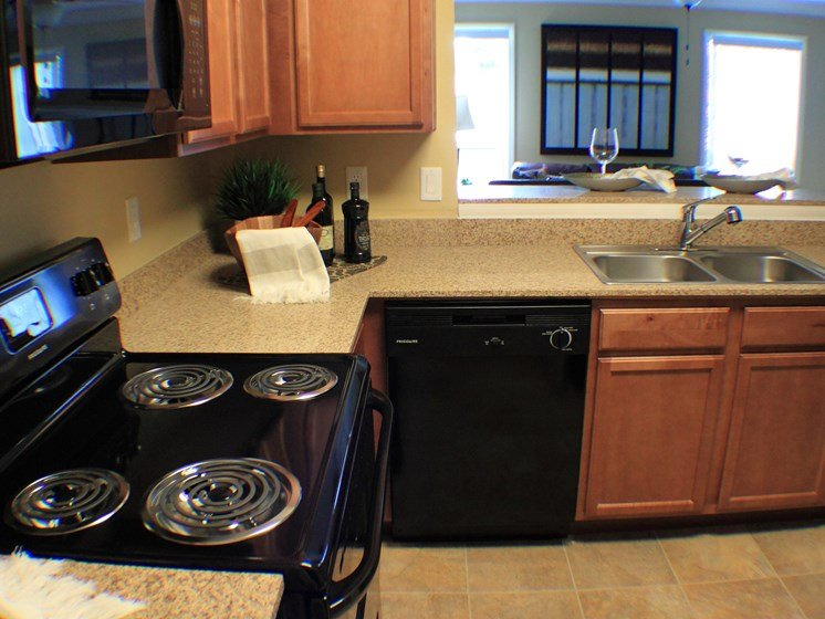 Kitchen View with stove dishwasher and sink at Aventine Oldsmar Tampa Florida