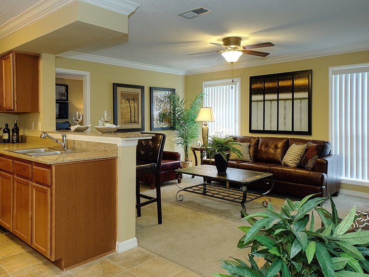 Living room with view of Kitchen at Aventine at Forest Lake Oldsmar Tampa Florida
