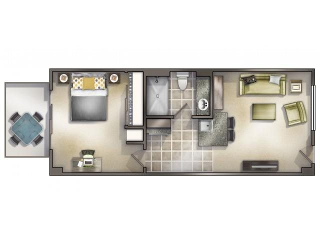 1-1 - Furnished Floor Plan 2