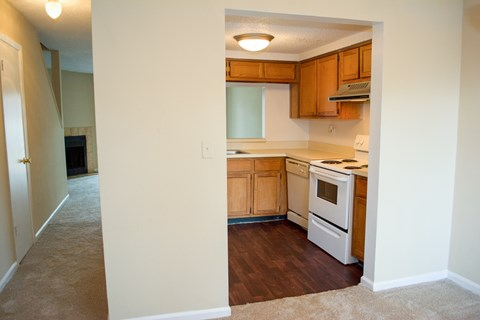 Kitchen and hallway at Bluff House Apartment Homes, Orange Park, FL, 32073