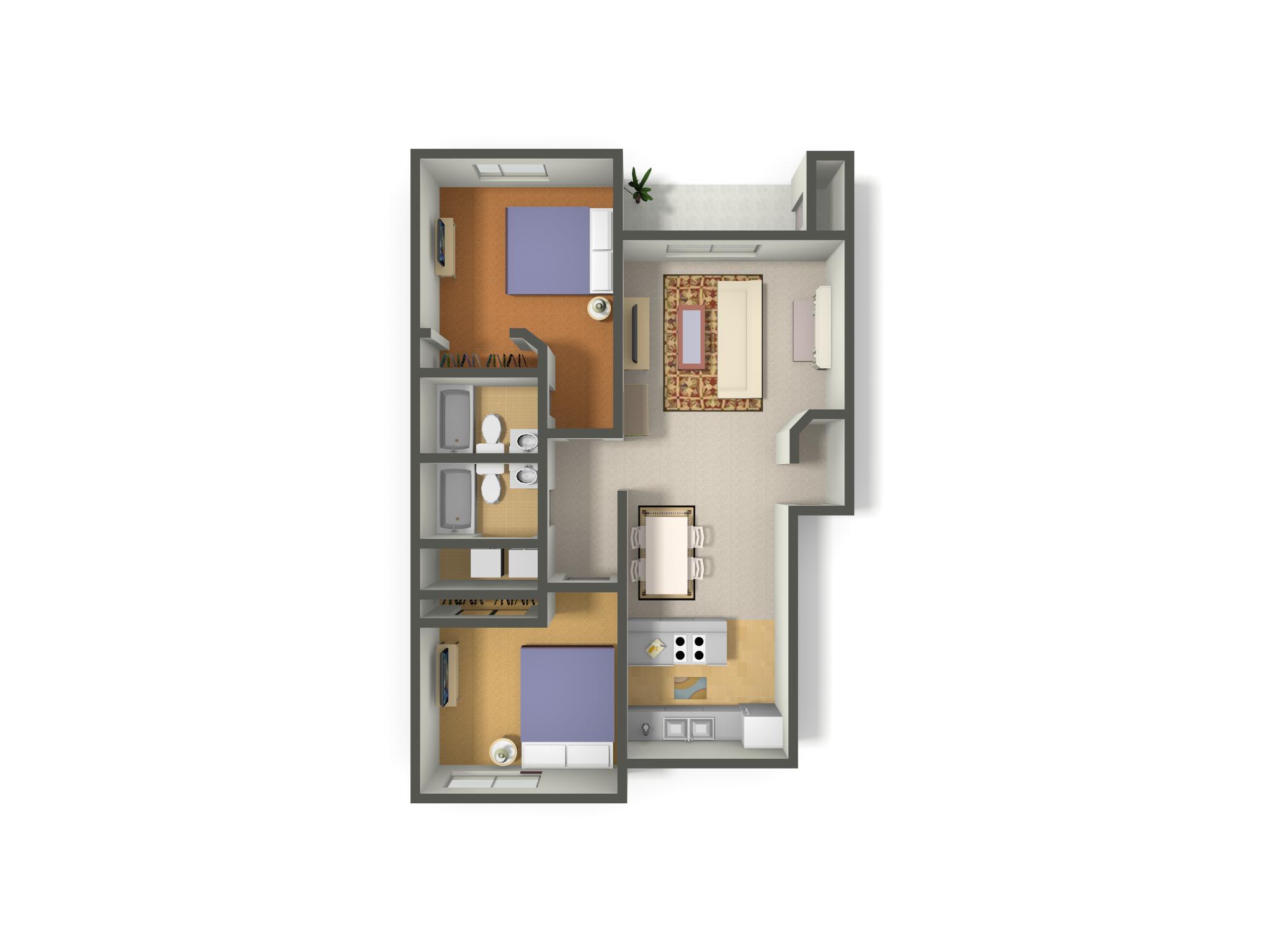 2 Bed-2 Bath Classic Floor Plan 4