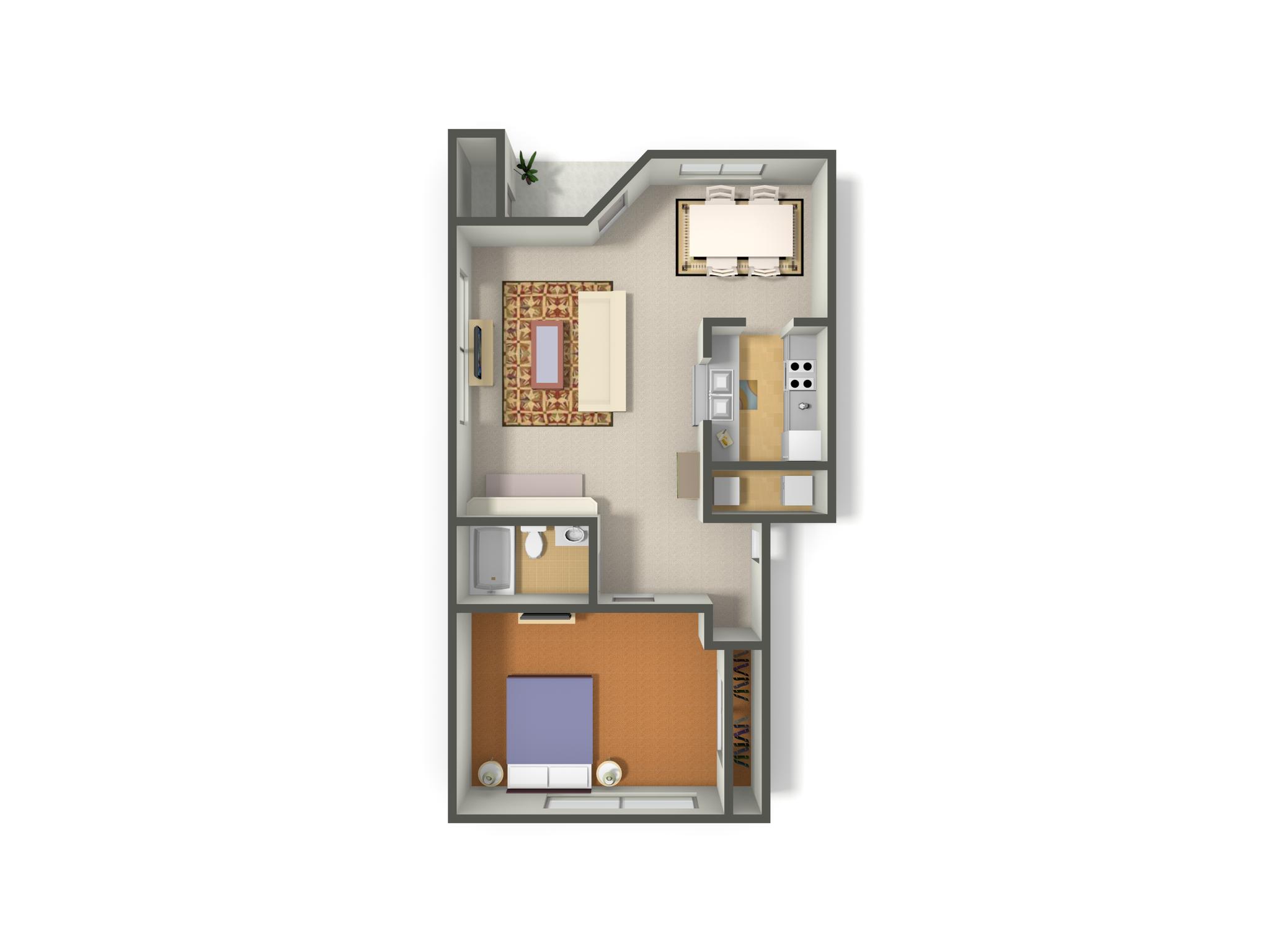 1 Bed-1 Bath Classic Floor Plan 1