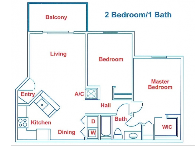 Two Bed One Bath Renovated Floor Plan 8