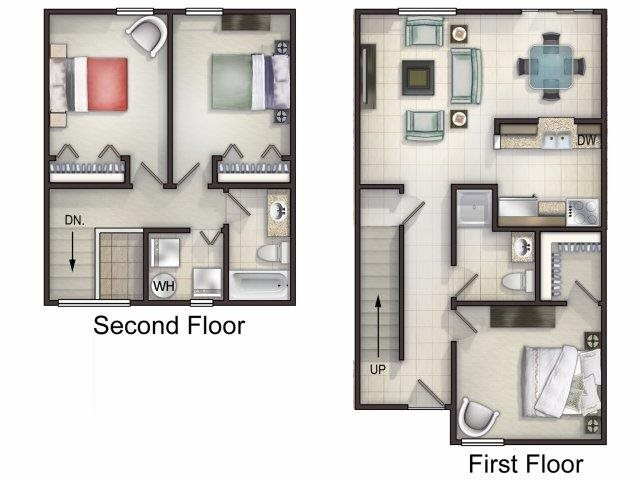 3 Bedroom 2 bath Floor Plan 1