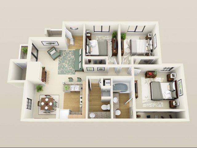 3 Bed - 2 Bath Floor Plan 1