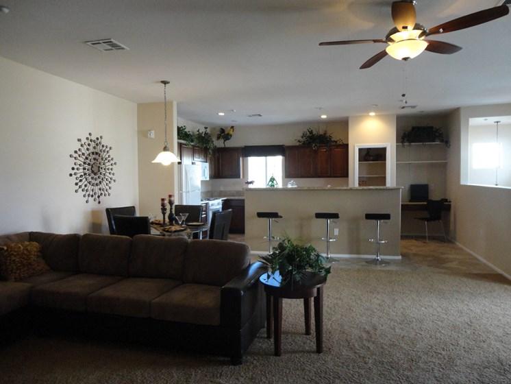Interior Living Room Dining Room Ceiling Fan Palmilla North Las Vegas Nevada
