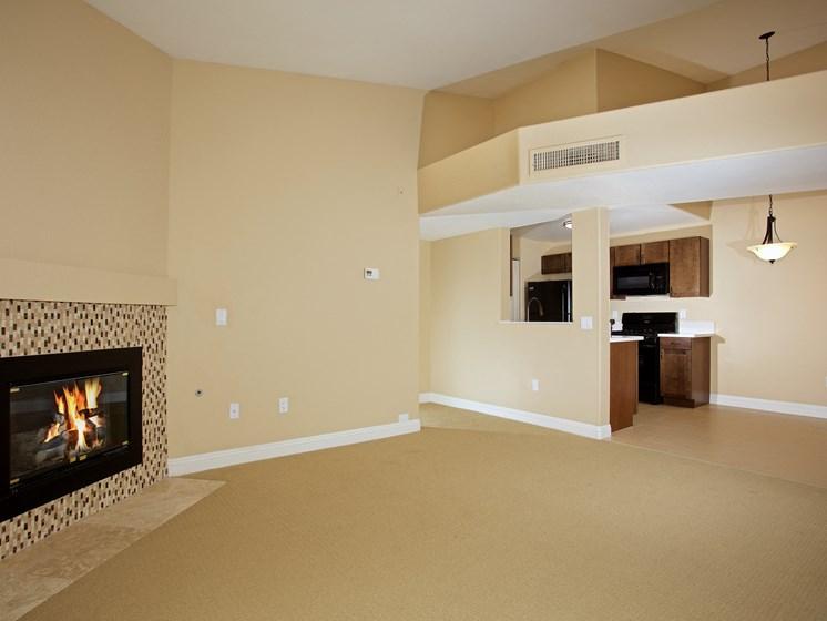 Interior Unit Fireplace Vinyl Flooring Living Room Balcony Las Vegas Henderson Nevada