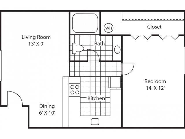 Classic 1Bd/1Ba Floor Plan 1