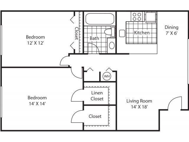 Classic 2Bd/1Ba Floor Plan 3