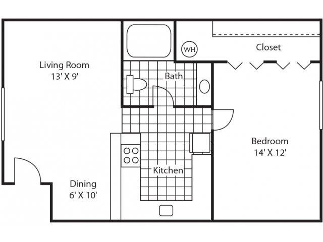 Semi-Renovated 1Bd/1Ba Floor Plan 2