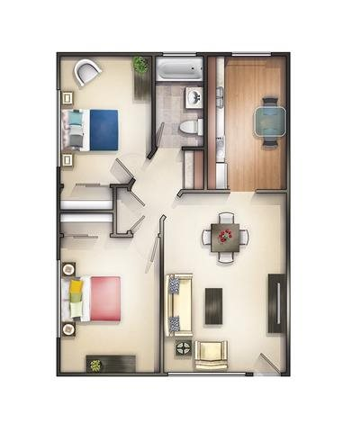 2 Bedroom 1 Bath Remodeled B Floor Plan 6