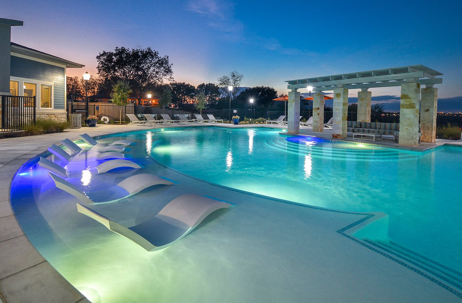 Resort Inspired Pool with Relaxing Tanning Ledge at The Terrace at Walnut Creek, Austin, TX