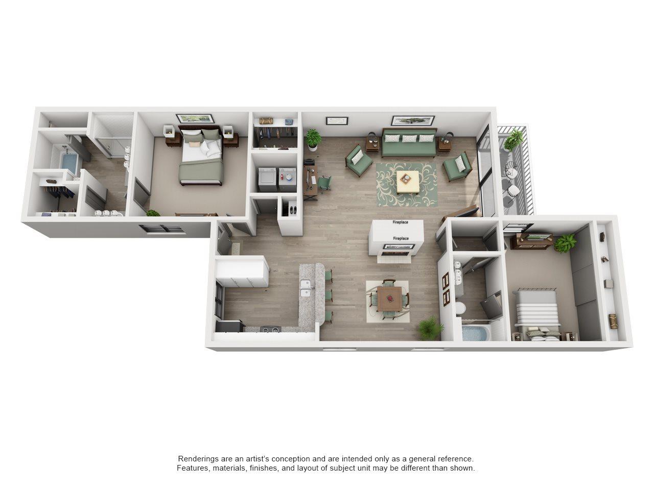 Ace - Adair II Off Addison 2X2 Floor Plan 1