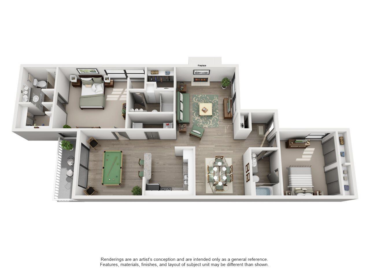 Fairway - Adair II Off Addison 2X3 Floor Plan 9