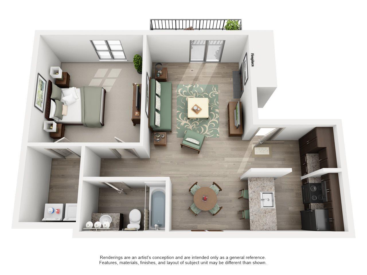 Keller - Adair I Off Addison 1X1 Floor Plan 11