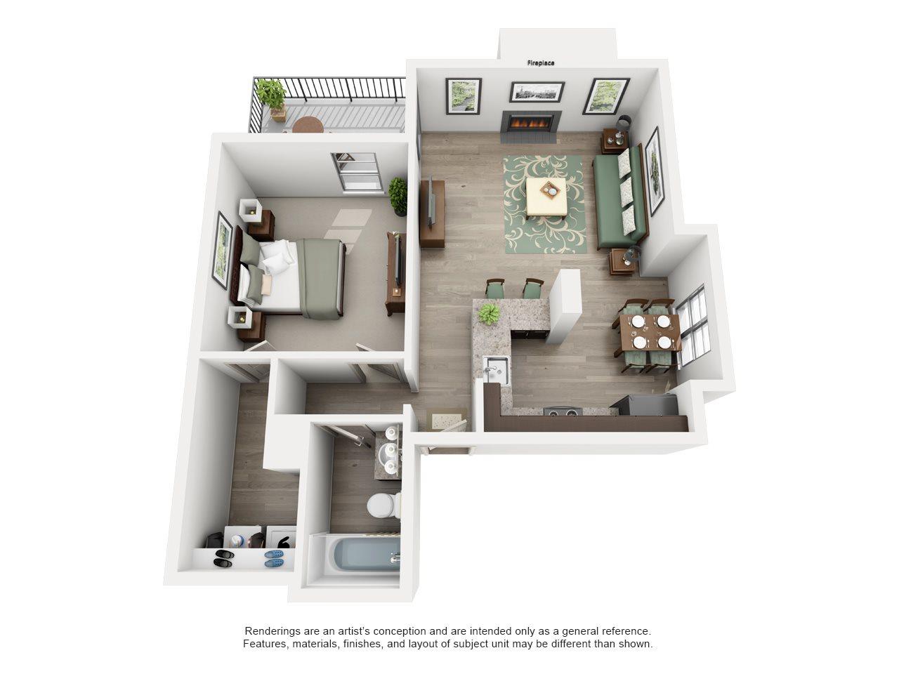 Briarwood - Adair I Off Addison 1X1 Floor Plan 5