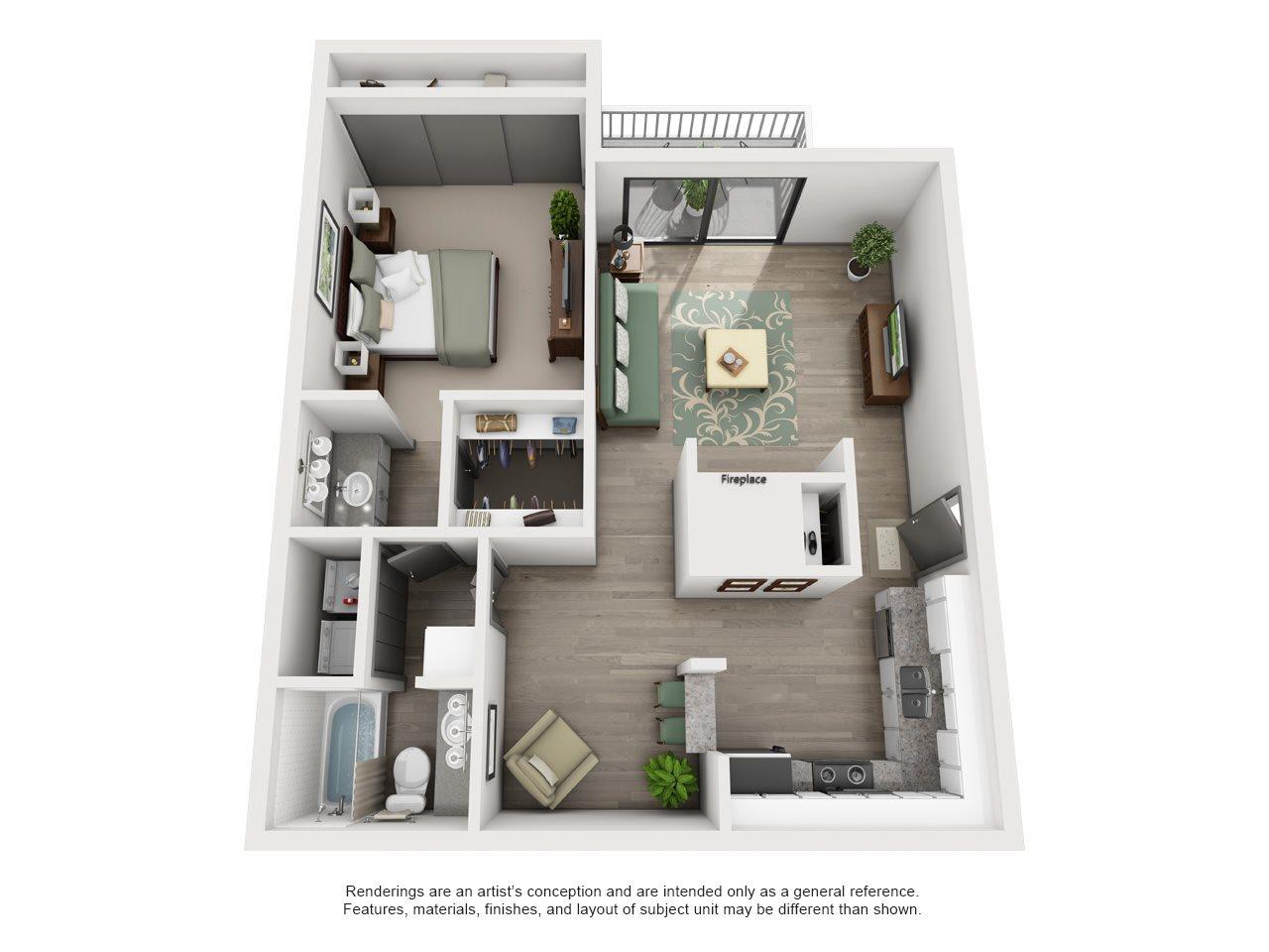 Mulligan - Adair II Off Addison 1X1 Floor Plan 12