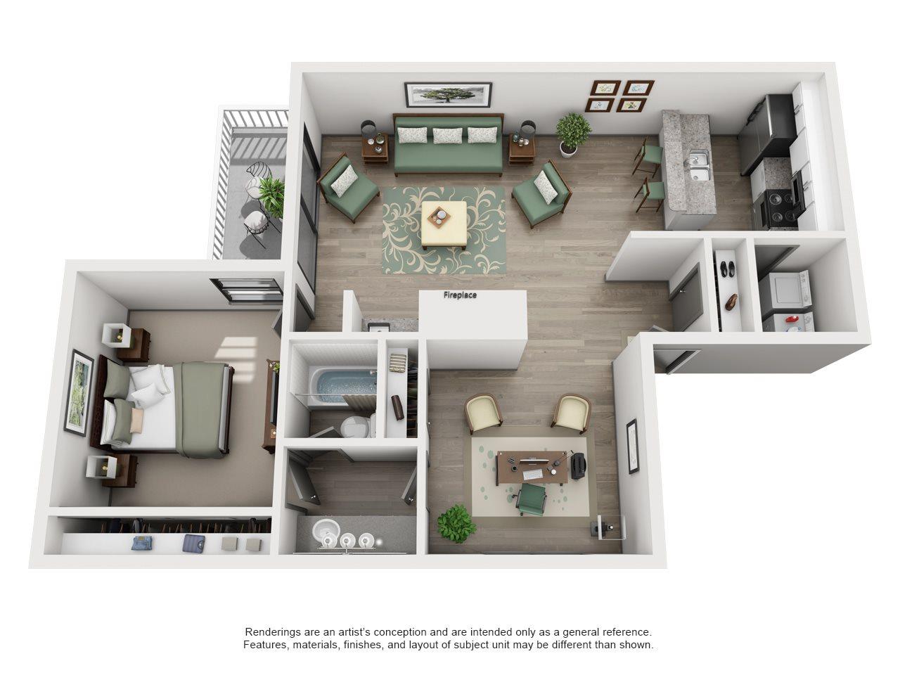 Bermuda - Adair II Off Addison 1X1 Floor Plan 3
