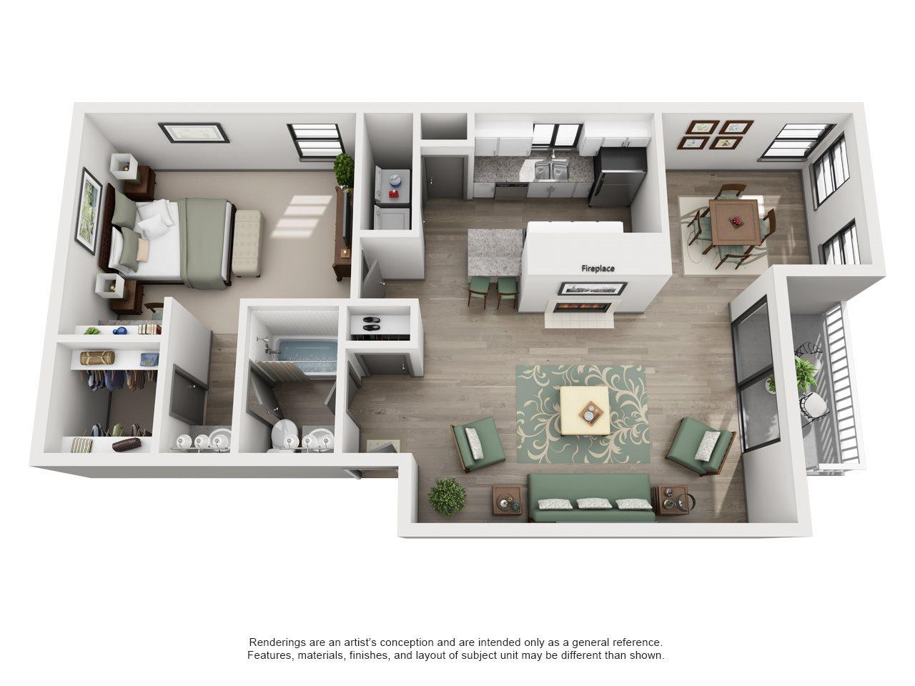 Deuce - Adair II Off Addison 1X1 Floor Plan 7