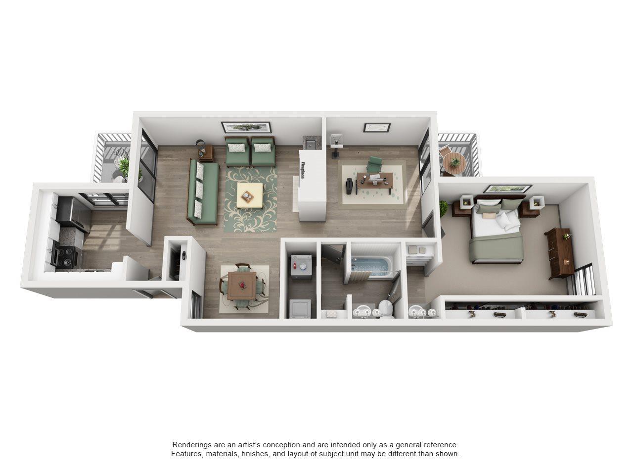Hogan - Adair II Off Addison 1X1 Floor Plan 10