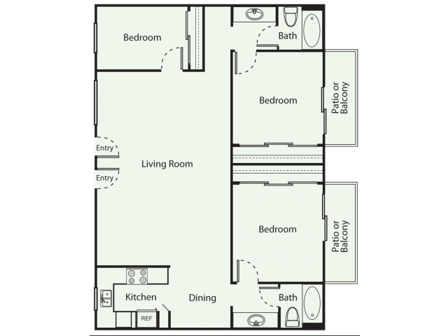 3 Bed 2 Bath Floor Plan 4
