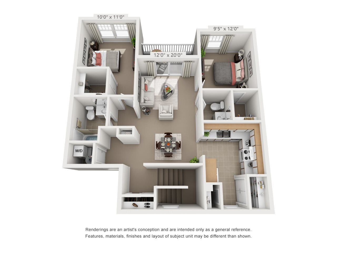 2 Bedroom 1.5 Bathroom Floor Plan 3