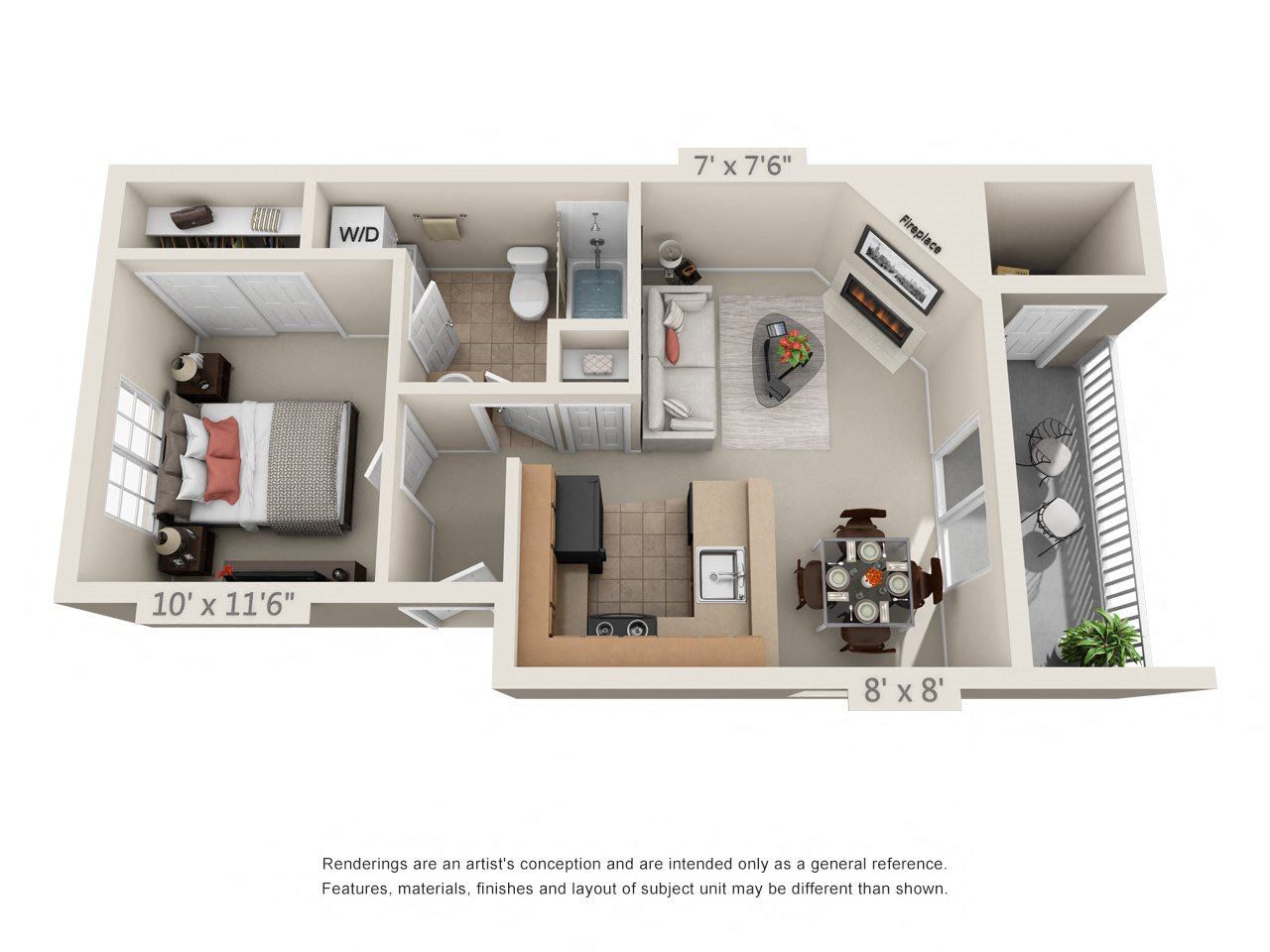 1 Bedroom 1 Bathroom - A1 Floor Plan 1