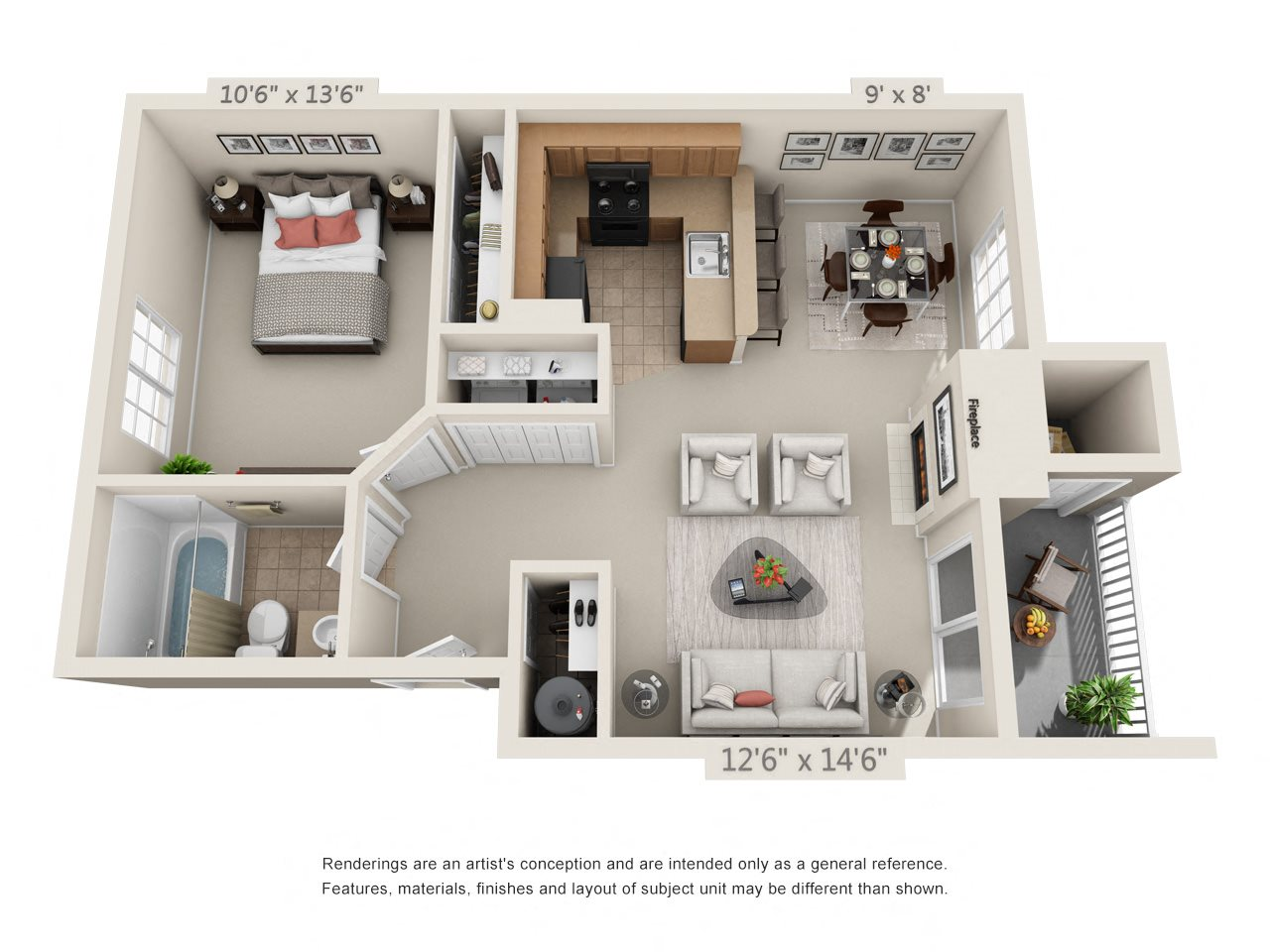 1 Bedroom 1 Bathroom - A3 Floor Plan 2