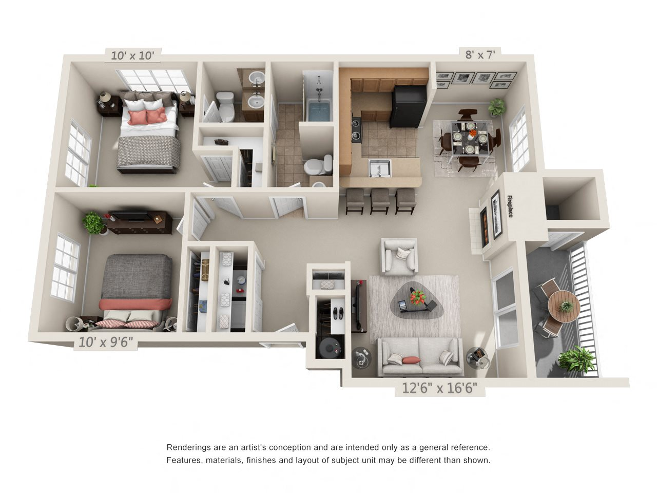 2 Bedroom 1.5 Bathroom - B1 Floor Plan 3