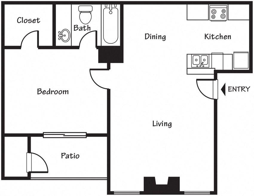 1 bedroom Floor Plan Spring Park Apartments for rent in EL Paso  TX 79925