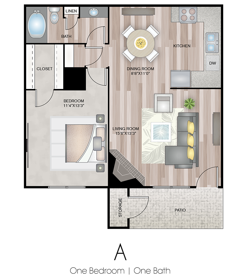 1x1 Floor Plan | Terrace Hill Apartments in El Paso, TX
