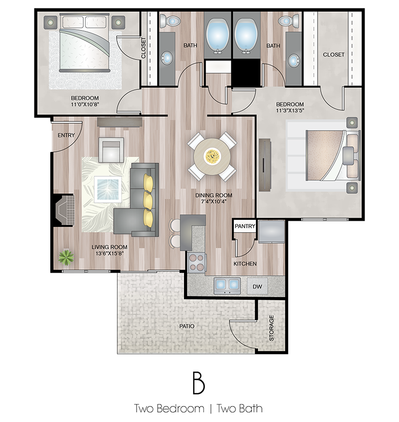 2X2 Floor Plan | Terrace Hill Apartments in El Paso, TX