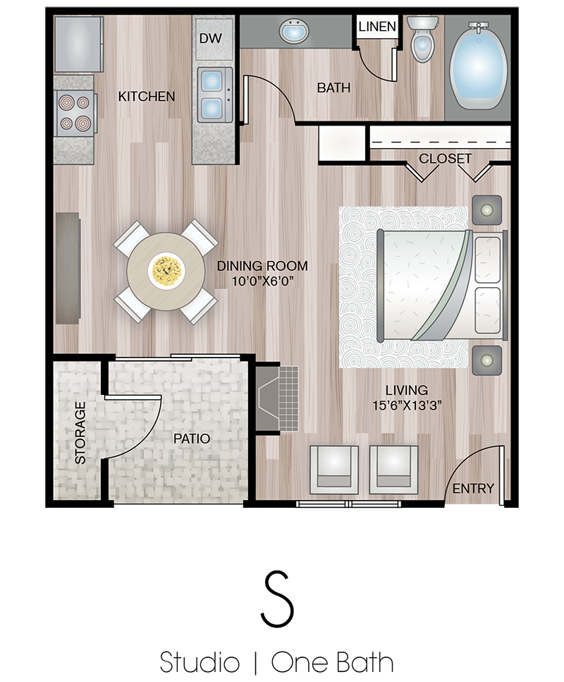 Studio Floor Plan | Terrace Hill Apartments in El Paso, TX