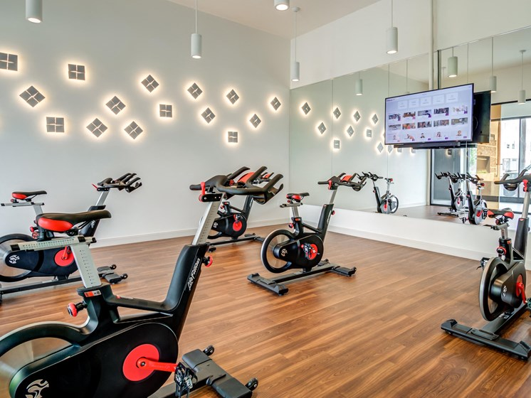 Fitness Center with Separate Spin Room at Central Park West, St Louis Park, Minnesota