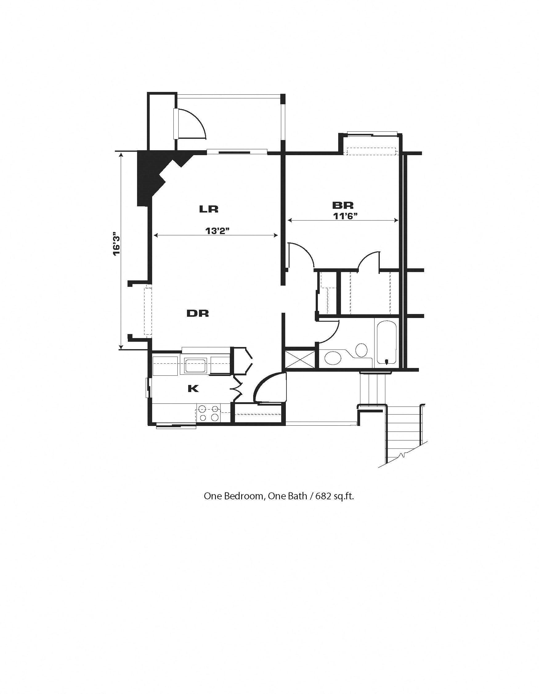 1br/1ba, Fireplace, End Unit Floor Plan 6