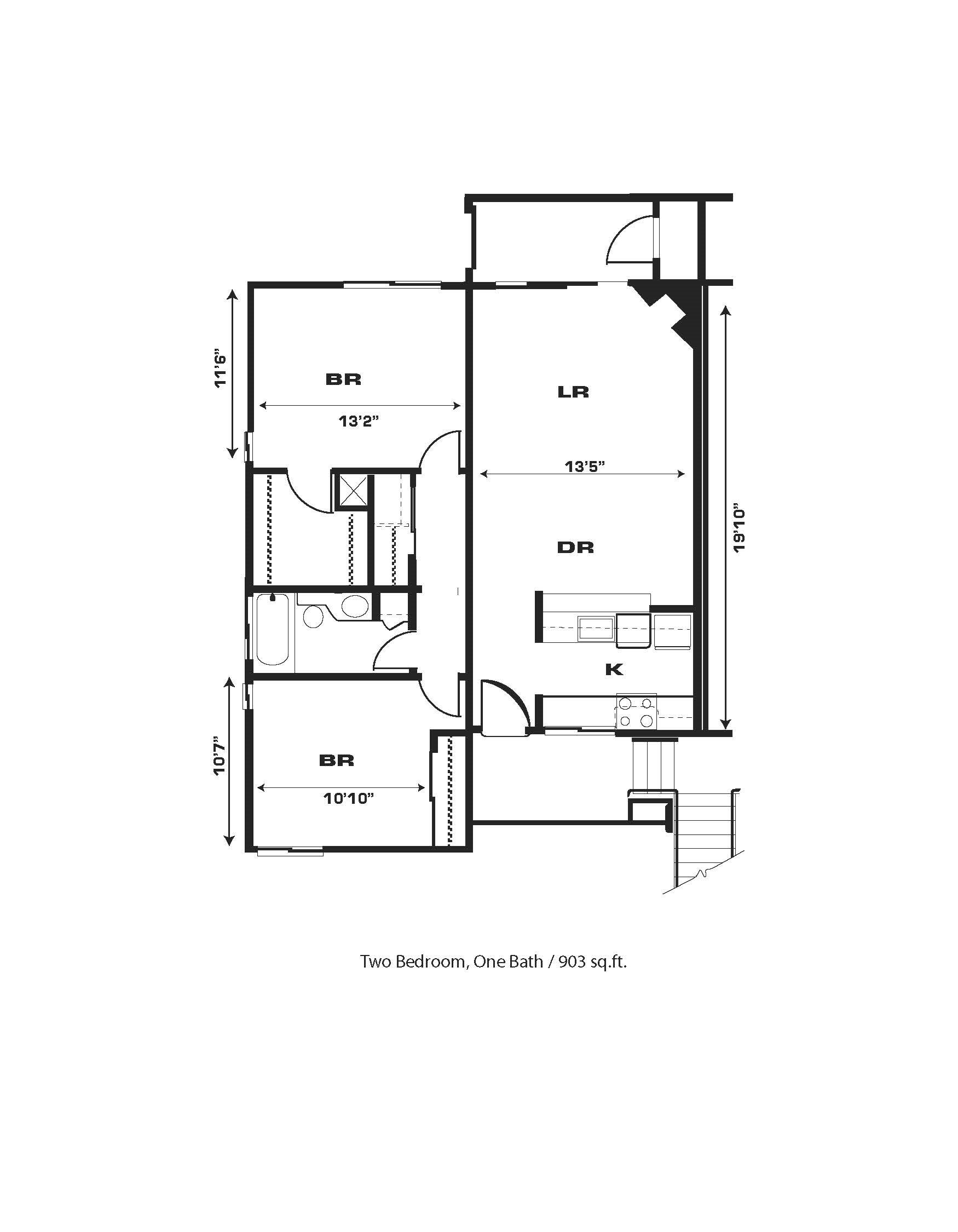 2br/1ba, Fireplace, End Unit W/D Hkup Floor Plan 9