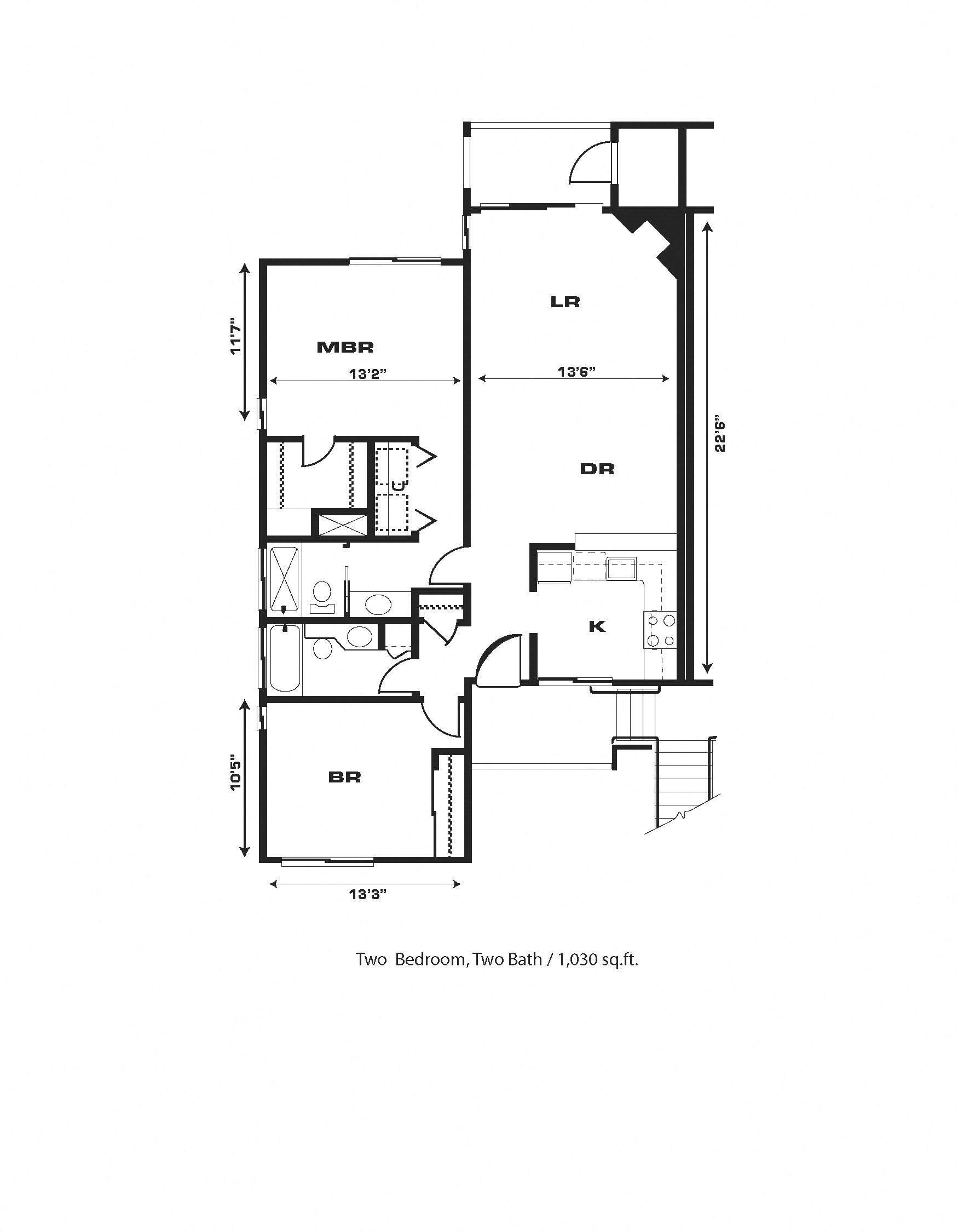 2br/2ba, Fireplace, End Unit W/D Hkup Floor Plan 11