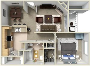 1bed 1bath Plan