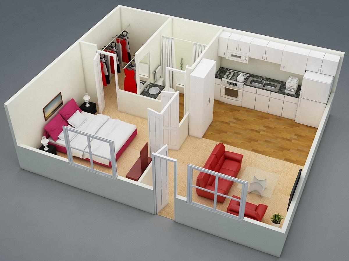 One Bed | One Bath Floor Plan 2