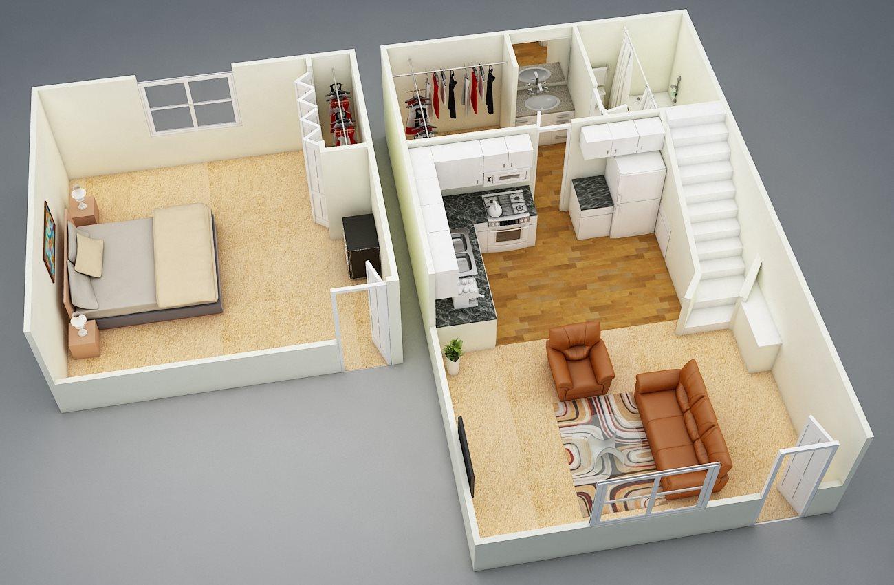 One Bed | One Bath | Loft Floor Plan 3