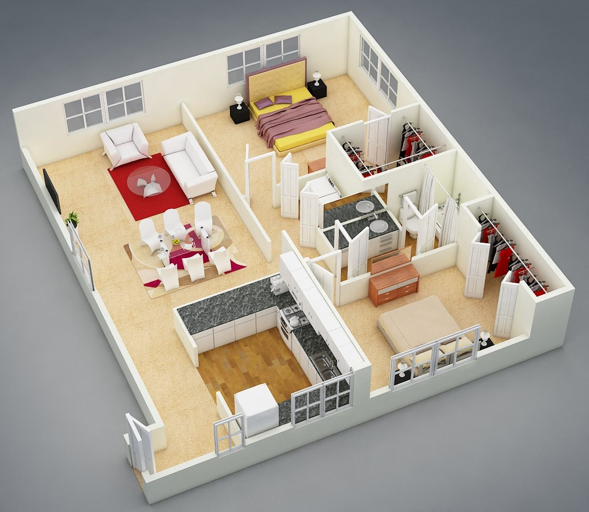 Two Bed | One Bath | A Floor Plan 4