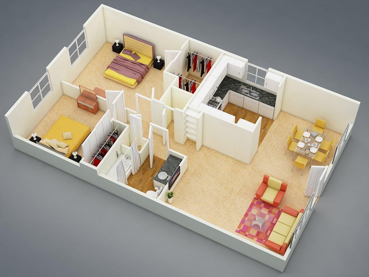 Two Bed | One Bath | B Floor Plan 5