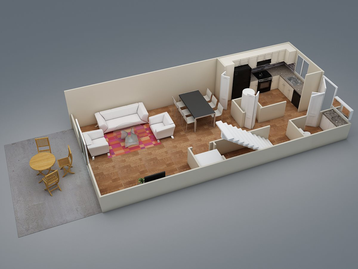 Two Bed | Two Bath | Townhome | D4 Floor Plan 7