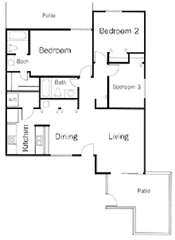 three bedroom two bath floor plan 4
